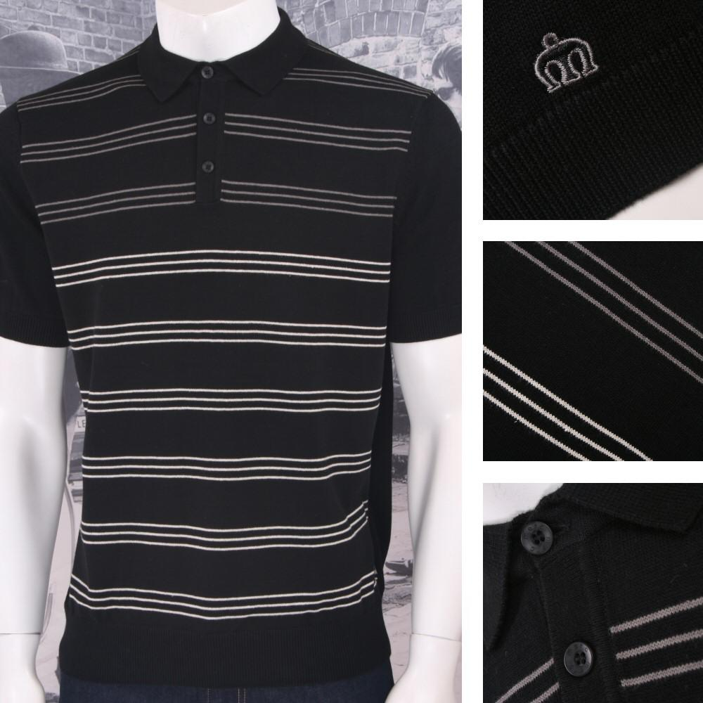 Merc London Mens Multi Stripe Polo Shirt Black