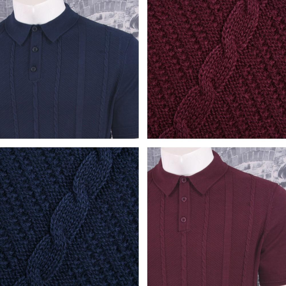 Merc London Mens Cable Knit Polo Shirt