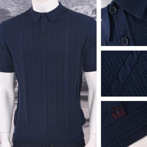 Merc London Mens Cable Knit Polo Shirt Thumbnail 2