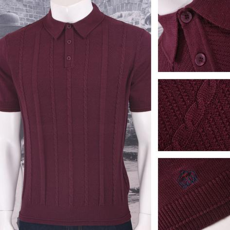 Merc London Mens Cable Knit Polo Shirt Thumbnail 3