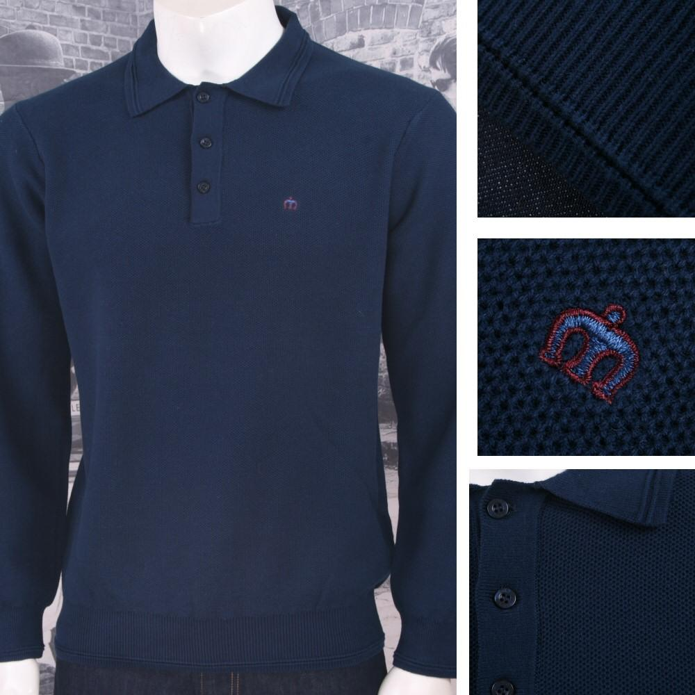 Merc London Mens Waffle Knit Polo Shirt Navy
