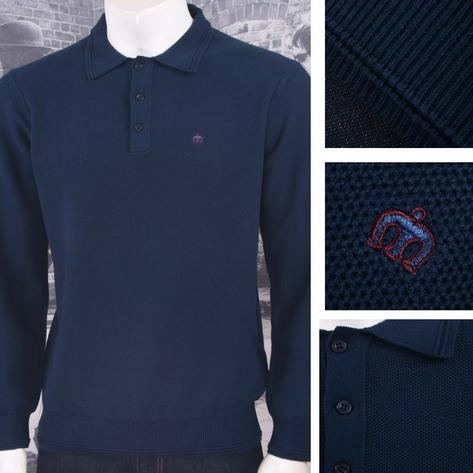 Merc London Mens Waffle Knit Polo Shirt Navy Thumbnail 1