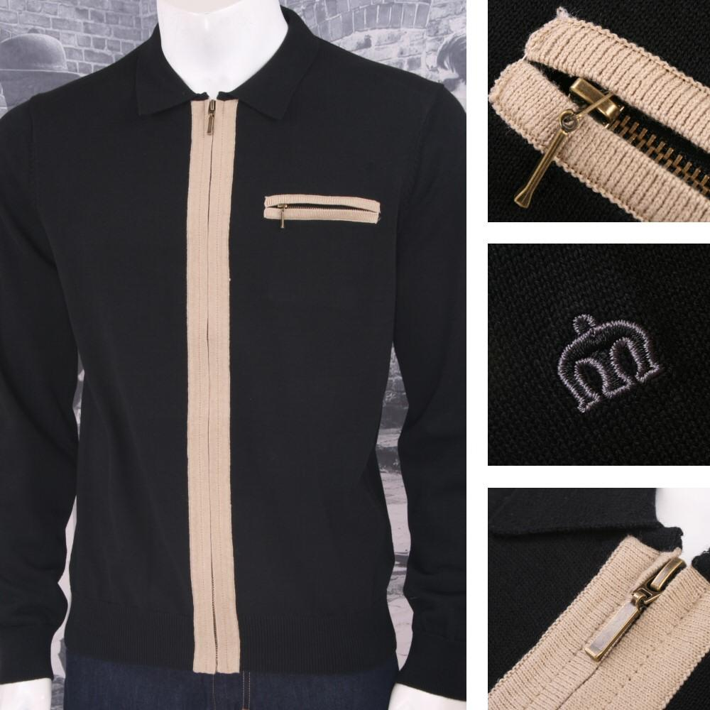 Merc London Mens Zip Through Knit Cardigan Black