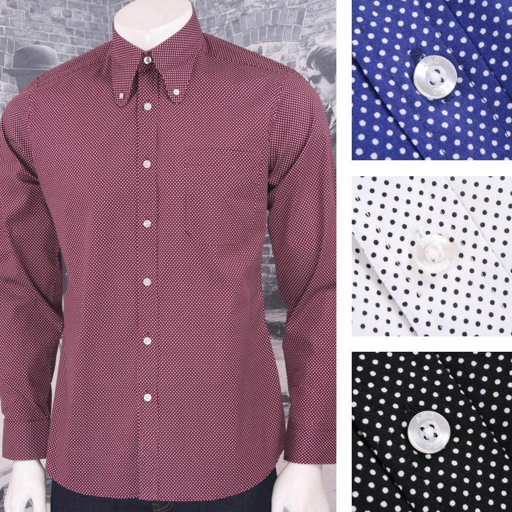 Art Gallery Mens Long Sleeve Polka Dot Shirt