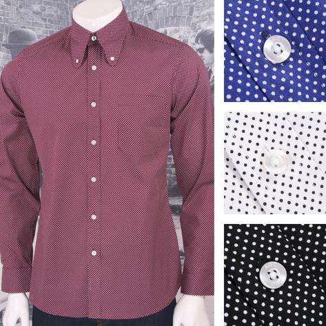 Art Gallery Mens Long Sleeve Polka Dot Shirt Thumbnail 1