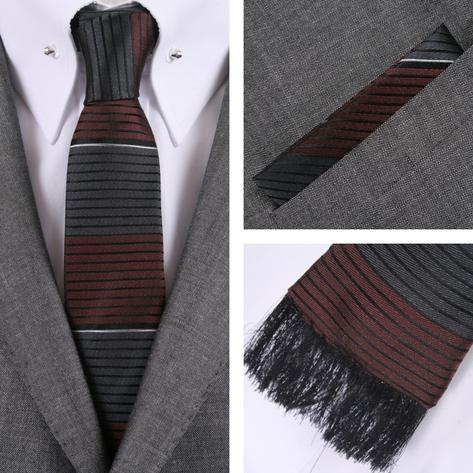 Knightsbridge Retro Square End Stripe Tie and Pocket Square Set Grey Thumbnail 1