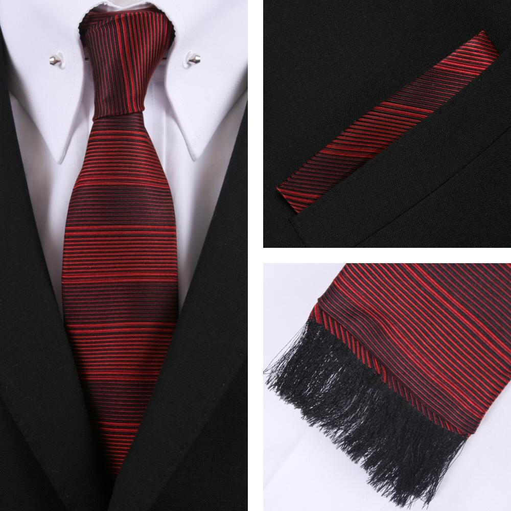 d1fb3a057744 Knightsbridge Retro Square End Stripe Tie and Pocket Square Set Red |  Adaptor Clothing