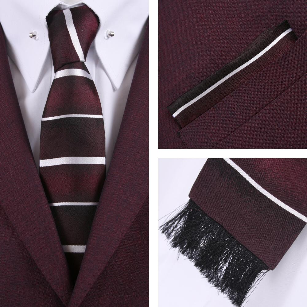 Knightsbridge Retro Square End Stripe Tie and Pocket Square Set Wine