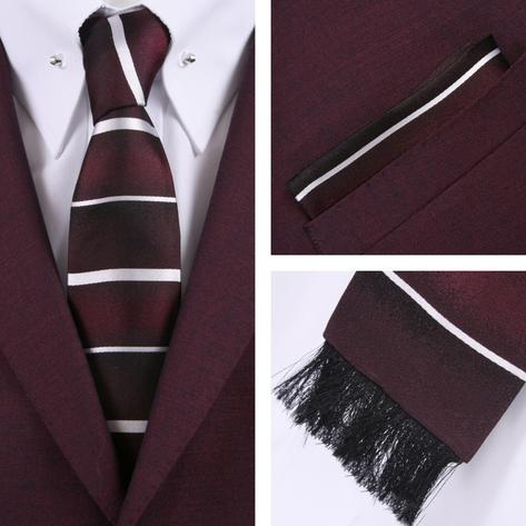 Knightsbridge Retro Square End Stripe Tie and Pocket Square Set Wine Thumbnail 1