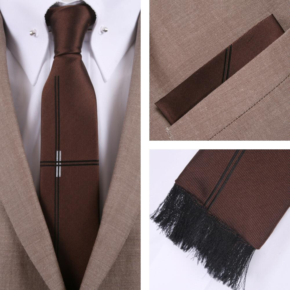Knightsbridge Retro Square End Lined Tie and Pocket Square Set Brown