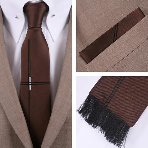 Knightsbridge Retro Square End Lined Tie and Pocket Square Set Brown Thumbnail 1