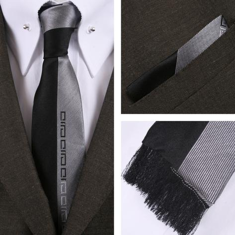 Knightsbridge Retro Square End Stripe Tie and Pocket Square Set Black Thumbnail 1