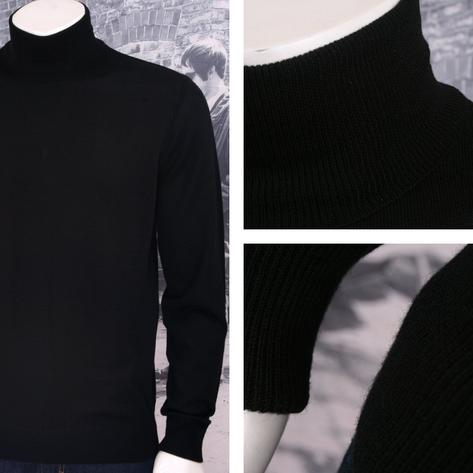 Art Gallery Mens Merino Wool Roll Neck Jumper Black