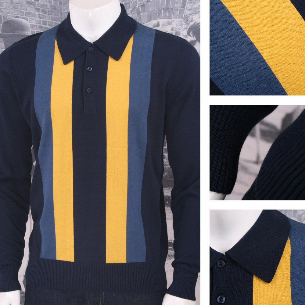 Art Gallery Mens Cotton Knit Stripe Polo Jumper Navy