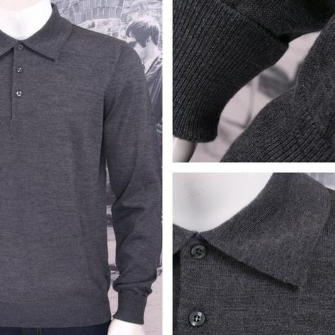 Art Gallery Mens Merino Wool Knit Polo Jumper Thumbnail 3
