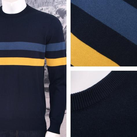 Art Gallery Mens Cotton Striped Crew Neck Jumper Thumbnail 2