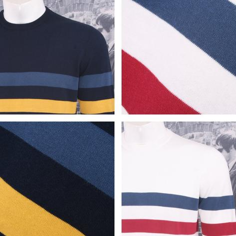 Art Gallery Mens Cotton Striped Crew Neck Jumper Thumbnail 1