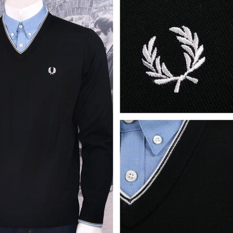 Fred Perry Mens Merino Tipped V-Neck Sweater Thumbnail 2