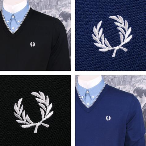 Fred Perry Mens Merino Tipped V-Neck Sweater Thumbnail 1