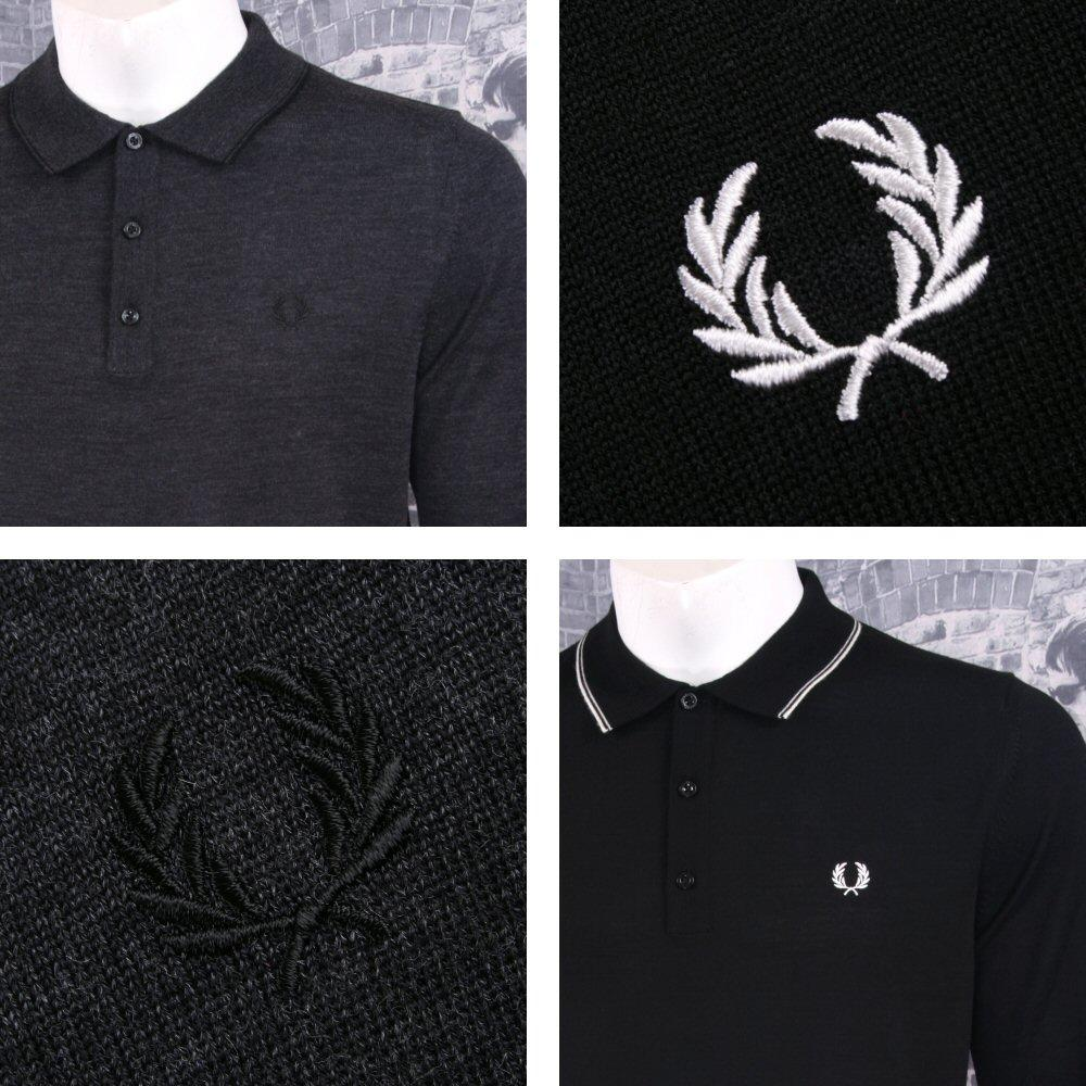 Fred Perry Mens Merino Tipped Knit Polo Shirt
