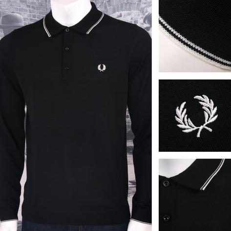 Fred Perry Mens Merino Tipped Knit Polo Shirt Thumbnail 3