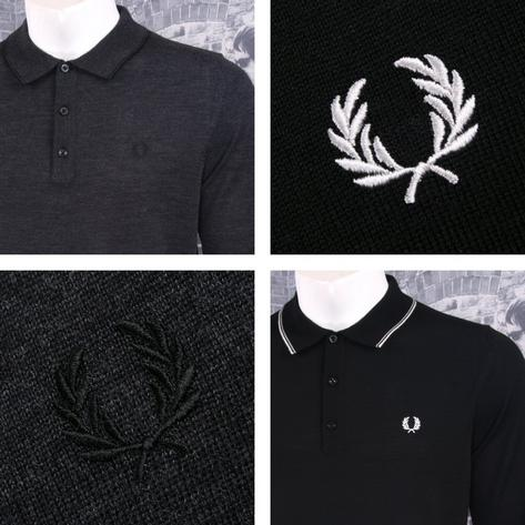 Fred Perry Mens Merino Tipped Knit Polo Shirt Thumbnail 2