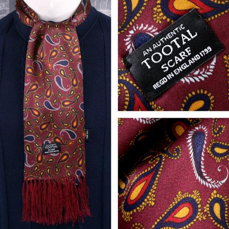 Tootal Mens Printed Silk Scarf Mixed Paisley Wine