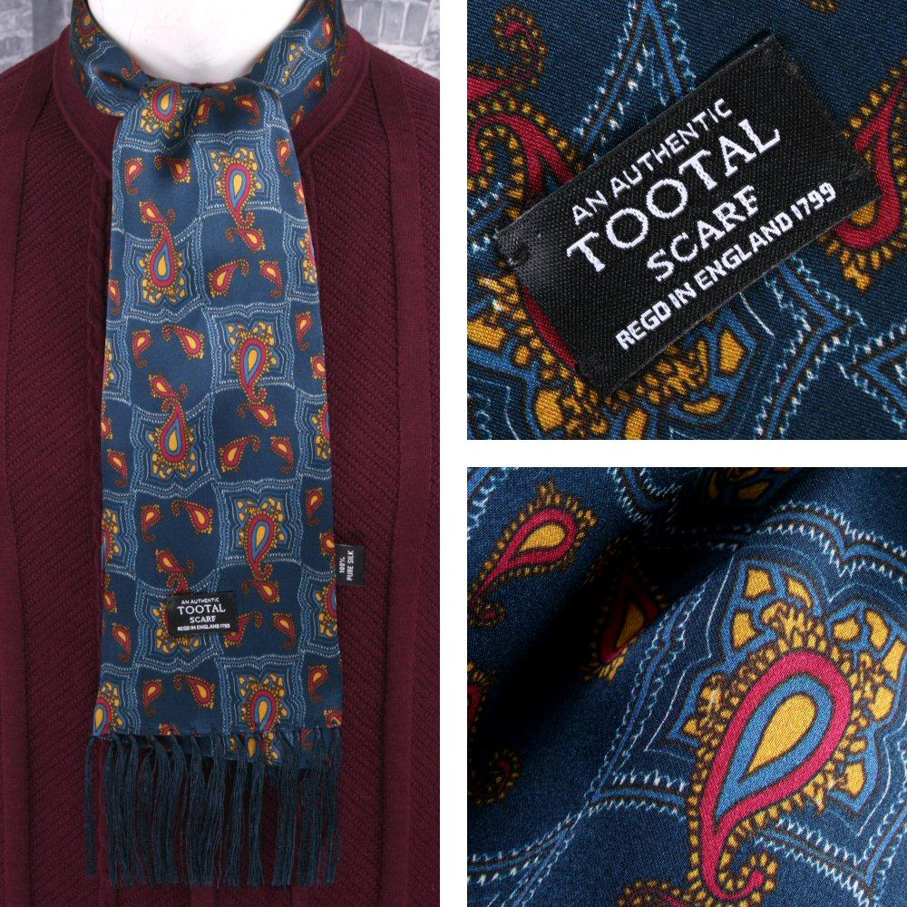 Tootal Mens Printed Silk Scarf Geometric Paisley Blue