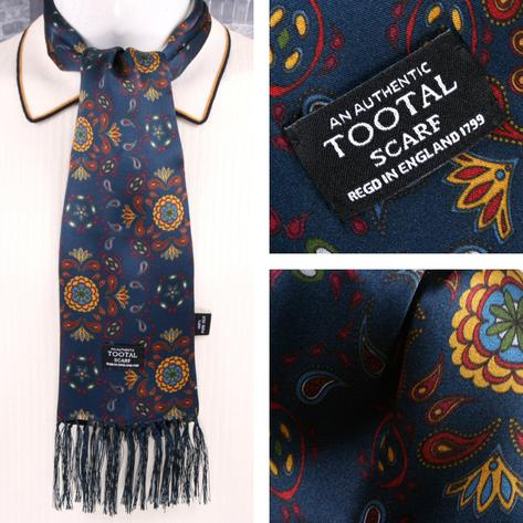 Tootal Mens Printed Silk Scarf Floral Paisley Navy Thumbnail 1