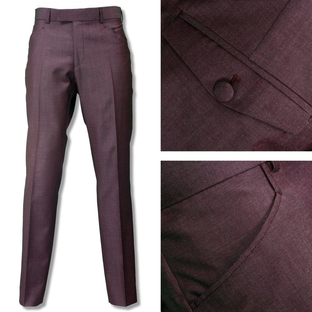 Adaptor Clothing Mod Two Tone Retro Tonic Slim Mohair Trousers Burgundy Silver
