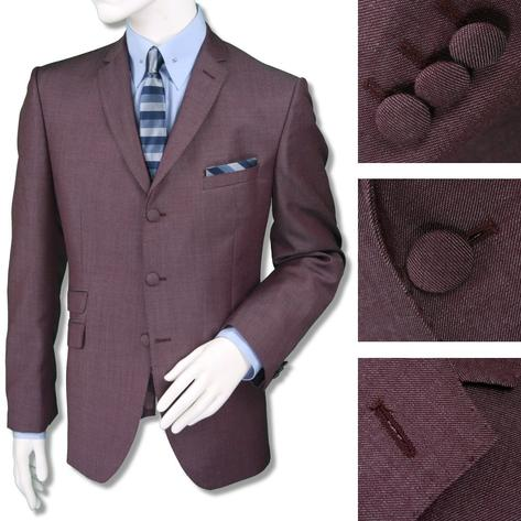 Adaptor Clothing Mod 3 Button Tonic Two Tone Mohair Suit Burgundy Silver