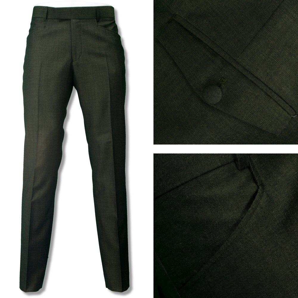 Adaptor Clothing Mod Two Tone Retro Tonic Slim Mohair Trousers Green Gold
