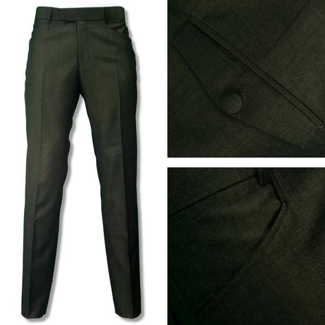 Adaptor Clothing Mod Two Tone Retro Tonic Slim Mohair Trousers Green Gold Thumbnail 1