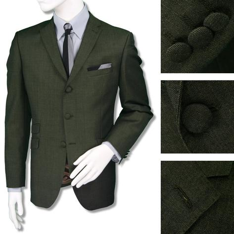 Adaptor Clothing Mod 3 Button Tonic Two Tone Mohair Suit Green Gold Thumbnail 1