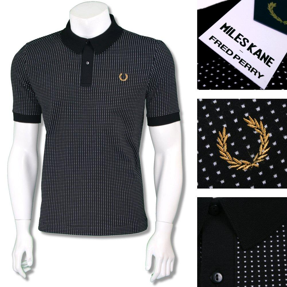 Fred Perry Ltd Edition Miles Kane Dot Texture Polo Shirt Black