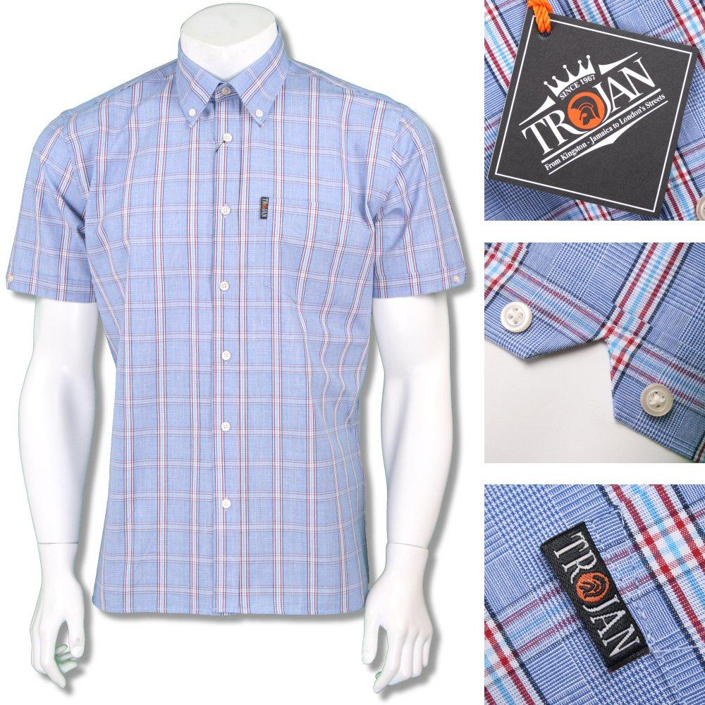 Trojan Records Mens Retro Short Sleeve Check Shirt Sky Blue