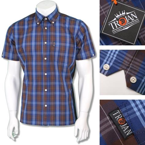 Trojan Records Mens Short Sleeve Tartan Check Shirt Thumbnail 3