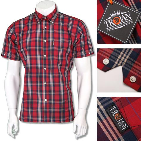 Trojan Records Mens Short Sleeve Tartan Check Shirt Thumbnail 4