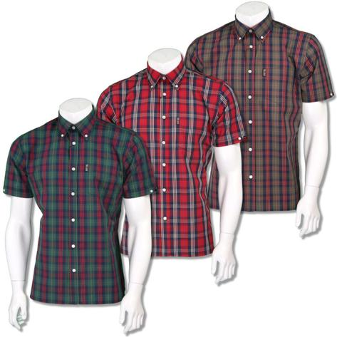 Trojan Records Mens Short Sleeve Tartan Check Shirt