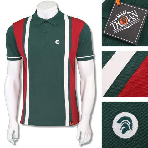 Trojan Records Mens Retro Racing Stripe Polo Shirt Thumbnail 3