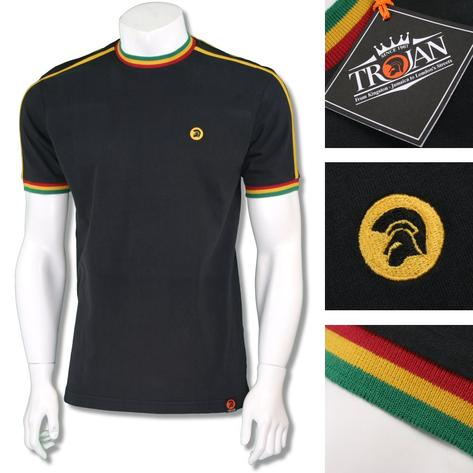 Trojan Records Mens Retro Rasta Tipped Ringer T-Shirt Black Thumbnail 1