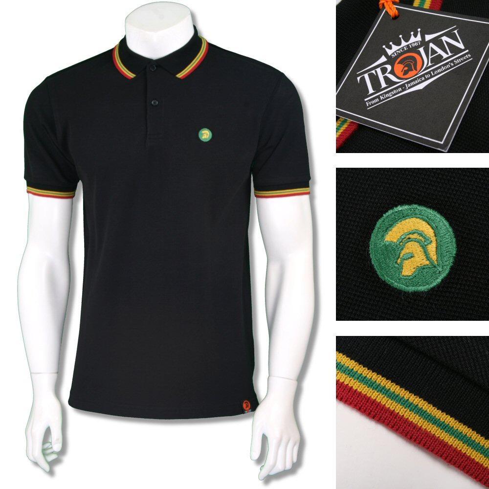 Trojan Records Mens Rasta Triple Tipped Polo Shirt Black Adaptor