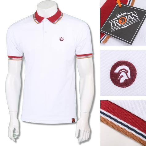Trojan Records Mens Retro Triple Tipped Polo Shirt White