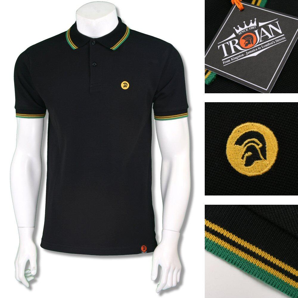 Trojan Records Mens Jamaica Tri Tipped Polo Shirt Black