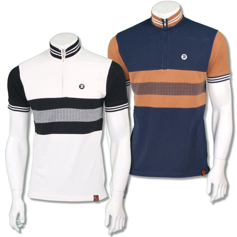 Trojan Records Mens Retro Dogtooth Stripe Cycling Top