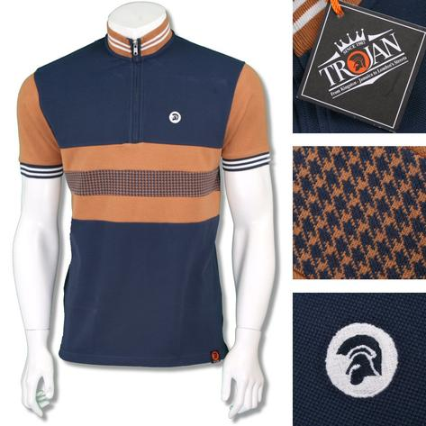 Trojan Records Mens Retro Dogtooth Stripe Cycling Top Thumbnail 3
