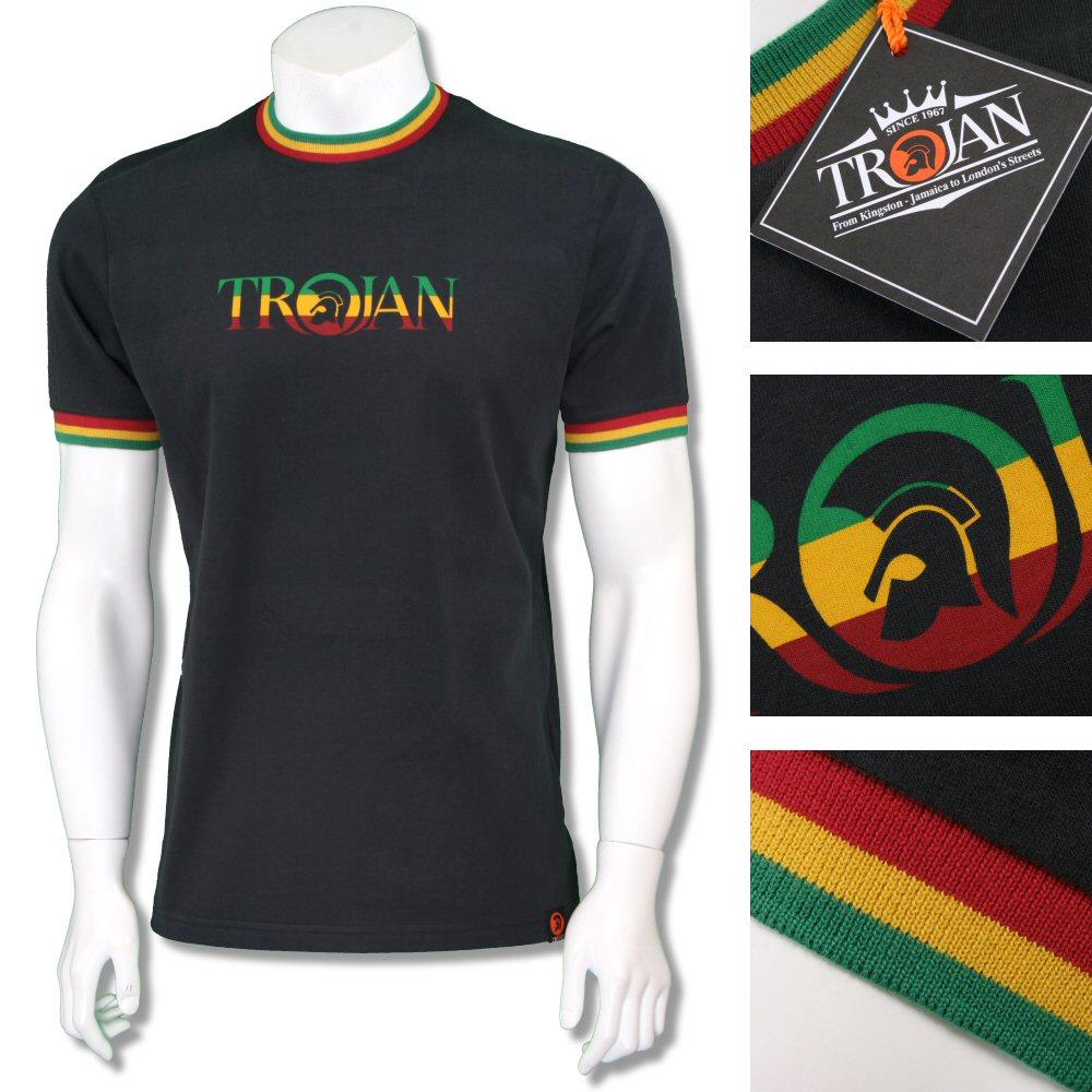 Trojan Records Mens Retro Rasta Logo Ringer T-Shirt Black