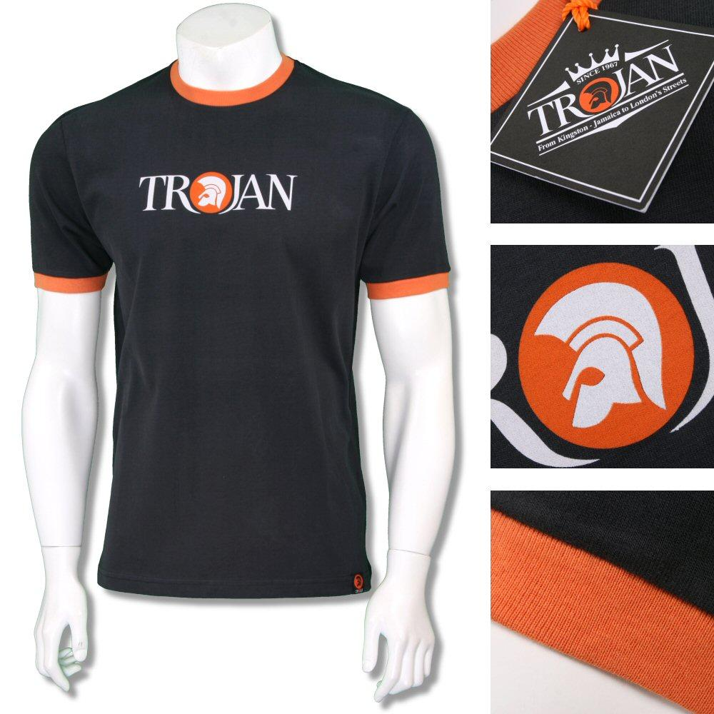 Trojan Records Mens Helmet Logo Ringer T-Shirt Tee Black