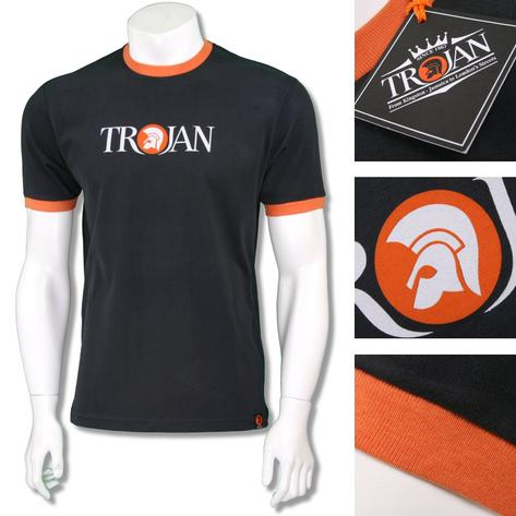 Trojan Records Mens Helmet Logo Ringer T-Shirt Tee Black Thumbnail 1