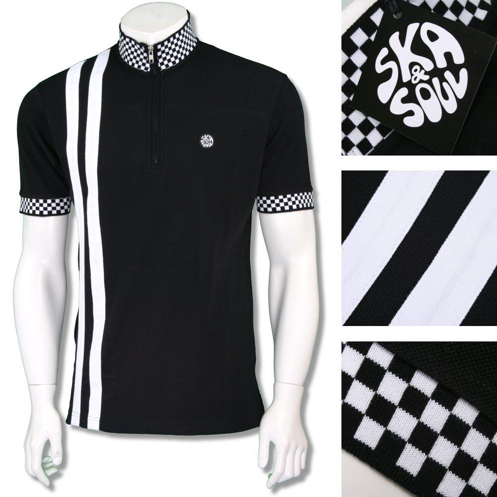 Ska & Soul Mens Ska 2Tone Racing Stripe Cycling Top Black